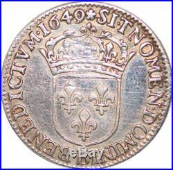S7037 Rare 1/4 Ecu Louis XIV 1649 B Rouen Argent Silver -Faire Offre