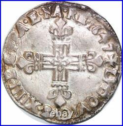 S7038 Rare 1/4 Ecu Louis XIV 1647 A Paris Argent Silver superbe