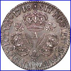 S7040 Très Rare 1/2 Ecu 3 couronnes Louis XIV 1710 A Paris Argent Silver SPL