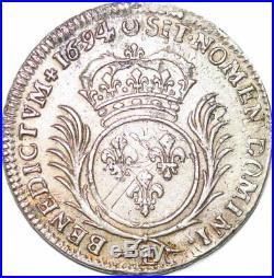 S7044 Rare 1/2 Ecu Louis XIV aux palmes 1694 E Tours Argent