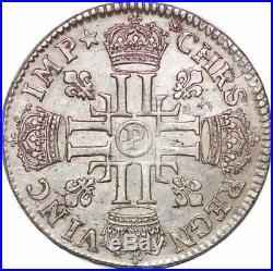 S7045 Rare 1/2 Ecu Louis XIV 8 L 1690 P Dijon Argent Silver -Faire Offre
