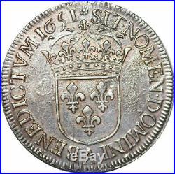S7051 Rare Louis XIV écu à la mèche longue 1651 A Paris Argent Silver