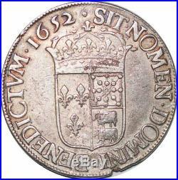 S7053 Rare Ecu Louis XIV Béarn mèche longue 1652 F Pau Argent Silver