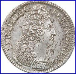 S8164 Rare Ecu 3 couronnes Louis XIV 1709 A Paris Argent Silver SUP