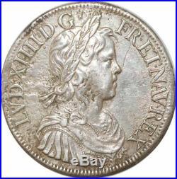 S9601 Rare Ecu Louis XIV mèche longue 1652 A Paris Argent Silver Faire Offre