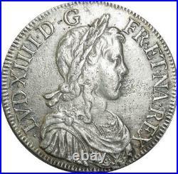 T1302 Rare Ecu Louis XIV mèche longue 1648 K Bordeaux Argent Silver F offre