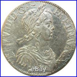 T1317 Rare Ecu Louis XIV mèche longue 1652 M Toulouse Argent Silver