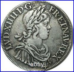T1319 Rare Ecu Louis XIV mèche courte 1645 A Paris Argent Silver Faire offre