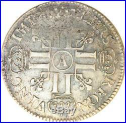 T1329 Rare Ecu aux huit L Louis XIV 1691 A Paris Reformation Argent Silver