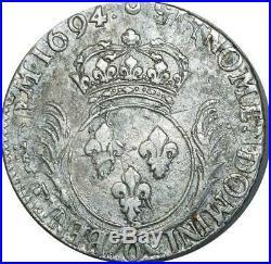 T1342 Tres Rare Ecu aux Palmes Louis XIV 1694 O Riom Argent réformé F offre