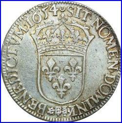 T1472 Tres Rare Demi 1/2 écu Louis XIV mèche longue 1654 H La Rochelle Argent