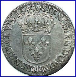 T1500 Tres Rare Demi 1/2 écu Louis XIV mèche longue 1649 & Aix Argent Silver