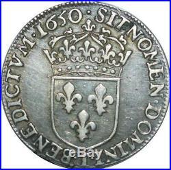 T1505 Tres Rare Demi 1/2 écu Louis XIV m longue 1650 I Limoges Argent F offre