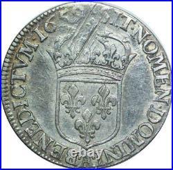 T1534 Tres Rare Demi 1/2 écu Louis XIV buste Juvénile 1659 A Paris Silver