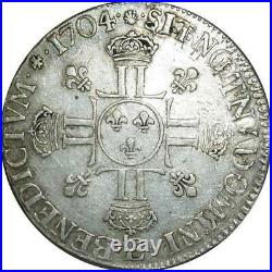 T1548 Rare Demi 1/2 écu Louis XIV aux huit L 1704 E Tours Argent Silver Réformé