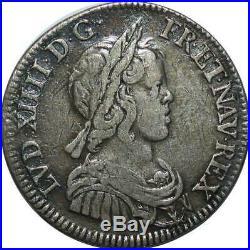 T1838 Rare 1/4 Ecu Louis XIV mèche courte 1643 A Paris Argent Silver F offre