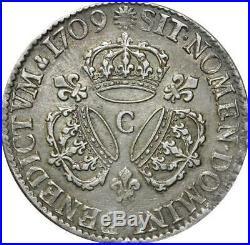 T3116 RARE R2 Ecu Louis XIV 3 Couronnes 1709 C Caen Argent Silver Quasi SUP