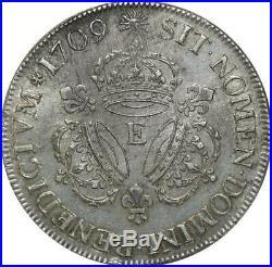 T3119 RARE R4 Ecu Louis XIV 3 Couronnes 1709 E Tours Argent Silver TTB++
