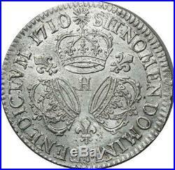 T3131 RARE R2 Ecu Louis XIV 3 Couronnes 1710 H La Rochelle Argent SUP