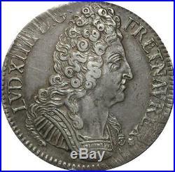 T3136 RARE R3 Ecu Louis XIV 3 Couronnes 1710 V Troyes Argent Quasi SUP