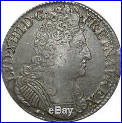 T3140 RARE R3 Ecu Louis XIV 3 Couronnes 1711 CC Besançon Argent Silver
