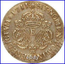 T3141 RARE R3 Ecu Louis XIV 3 Couronnes 1711 E Tours Argent Silver TTB+++