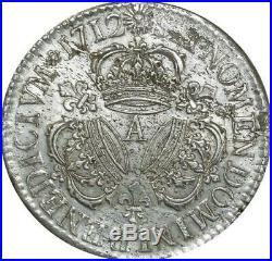 T3147 RARE R2 Ecu Louis XIV 3 Couronnes 1712 A Paris Argent Silver