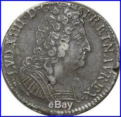 T3149 RARE R3 Ecu Louis XIV 3 Couronnes 1712 CC Besançon Flambeau Argent Silver