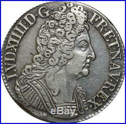 T3154 RARE R3 Ecu Louis XIV 3 Couronnes 1712 T Nantes grand coeur Argent Silver