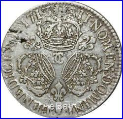 T3161 RARISSIME R4 Ecu Louis XIV 3 Couronnes 1713 CC Besançon Argent Silver