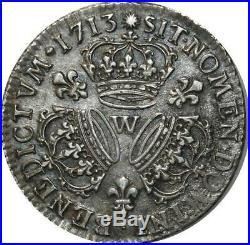 T3184 TRES RARE 1/4 Ecu Louis XIV 3 Couronnes 1713 W legende LUD Argent SUPERBE