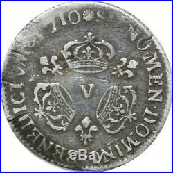 T3194 RARISSIME R4 1/10 Ecu Louis XIV 3 Couronnes 1710 V Troyes Argent Silver