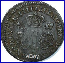 T3210 RARE 1/10 Ecu Louis XIV 3 Couronnes 1711 M Toulouse Argent Silver