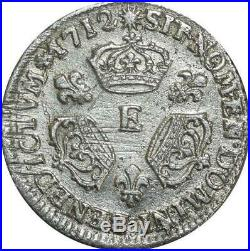 T3218 RARE R4 1/10 Ecu Louis XIV 3 Couronnes 1712 E Tours Argent brillant