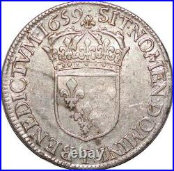 T3789 RARE R2 1/2 Ecu mèche longue Louis XIV 1659 F Angers Argent Silver