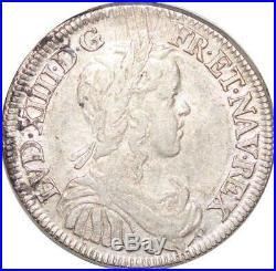 T3796 RARE 1/2 Ecu mèche longue Louis XIV 1650 G Poitiers Argent Silver