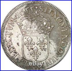 T3806 RARE 1/2 Ecu mèche longue Louis XIV 1655 K Bordeaux Argent Silver