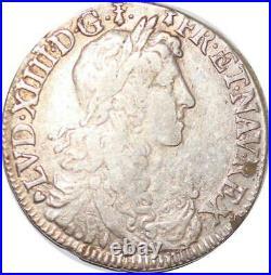 T3831 RARE 1/2 Ecu Louis XIV buste Juvénille 1662 / 1 T Nantes Argent Silver