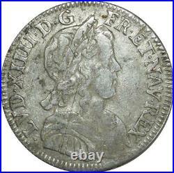T3846 TRES RARE R6 INEDIT 1/4 Ecu LouisXIV 1651 K Bordeaux Argent Silver