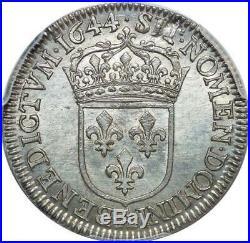 T4208 FINEST 1/4 Ecu Louis XIV 1644 A Argent PCGS MS62 SPLENDIDE Faire offre