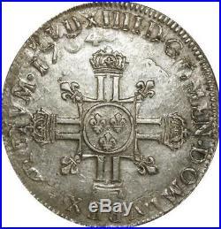 T5589 Rare Ecu aux 8 L Louis XIV 1704 Réformé Argent Qualité