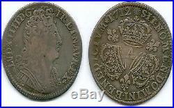 Tres Rare Monnaie Royale @ Quart Ecu Aux 3 Couronnes De Louis XIV Argent 1712 A