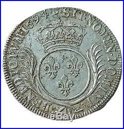 Très bel Ecu 1694 Louis XIV Lyon