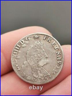 Très rare et joli 1/8 ième d'écu argent Flandre aux palmes Louis XIV! 4,48 g