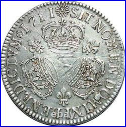 U1765 Rare Ecu Louis XIV Trois couronnes 1711 A Paris Argent Silver