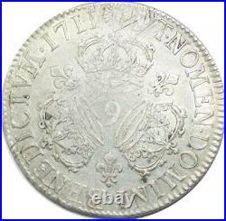 U6378 Rare Ecu Louis XIV 3 couronnes 1711 9 Rennes Silver Argent F offre