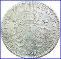 U6379 Rare R3 Ecu Louis XIV 3 couronnes 1713 H La Rochelle Argent F offre