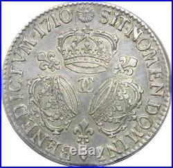 U6381 Rare R2 Ecu Louis XIV 3 couronnes 1710 CC Besancon Silver Argent FO