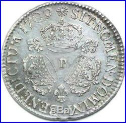 U6383 Rare Ecu Louis XIV 3 couronnes 1709 P Dijon Silver Argent Superbe