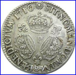 U6384 Rare R2 Ecu Louis XIV 3 couronnes 1710 P Dijon Silver Argent F offre